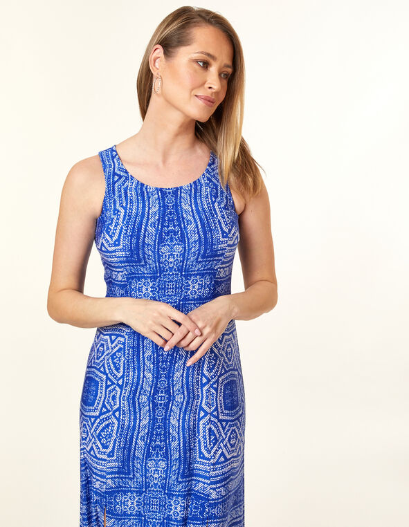 Blue Patterned Maxi Dress, Blue, hi-res