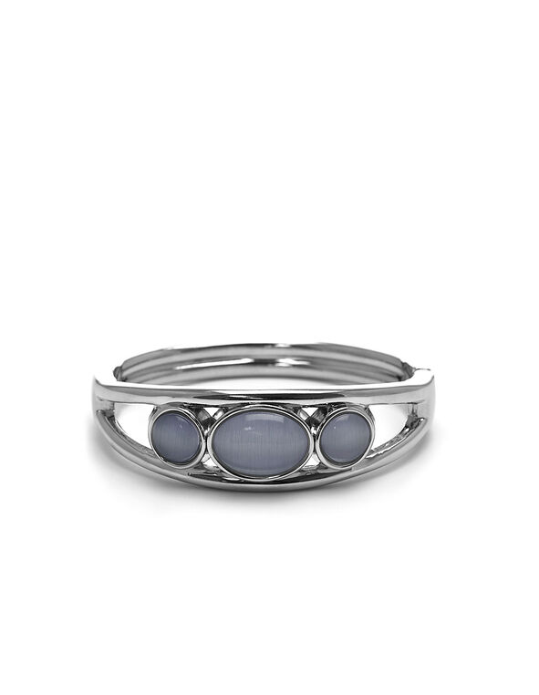 Grey Cat Eye Hinge Bracelet, Grey, hi-res