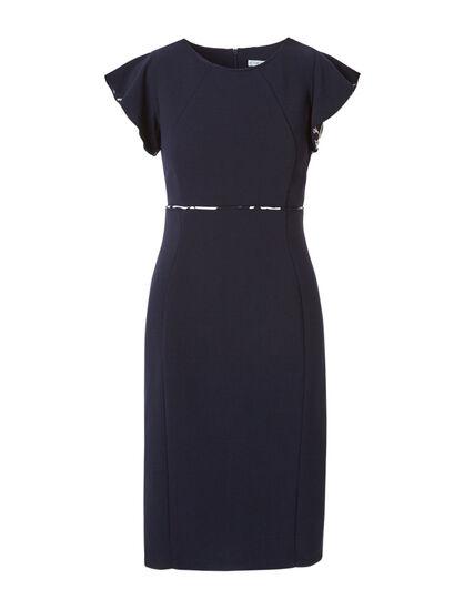 Navy Printed Sleeve Sheath Dress, Navy, hi-res