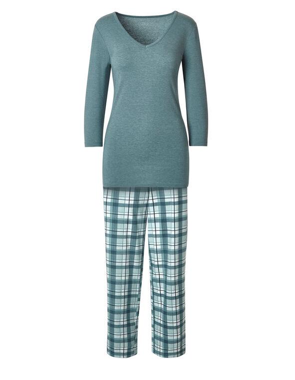 Teal Plaid Cotton Pyjama Set, Teal, hi-res