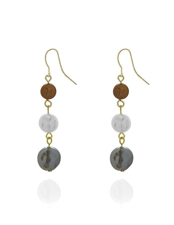 Flat Pearl Earring, Neutral, hi-res