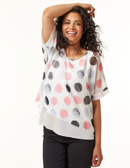 Polka Dot Sequin Detail Blouse, White/Pink, hi-res