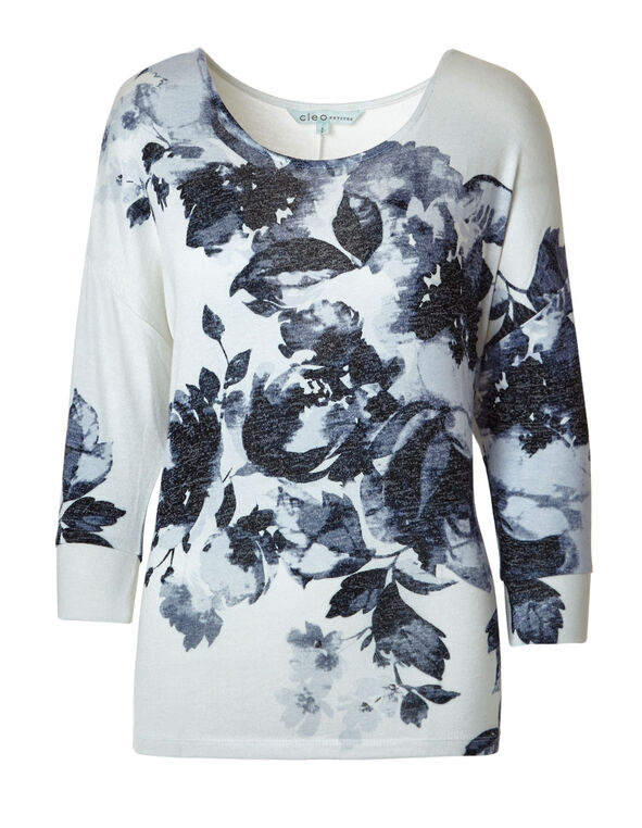 Blue Floral Printed Hacchi Top, Ivory/Blue, hi-res