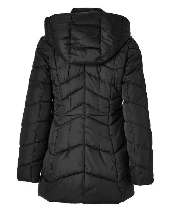 Black Short Faux Down Coat, Black, hi-res