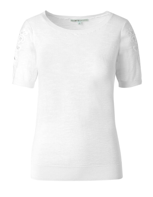 White Slub Cotton Pullover, White, hi-res