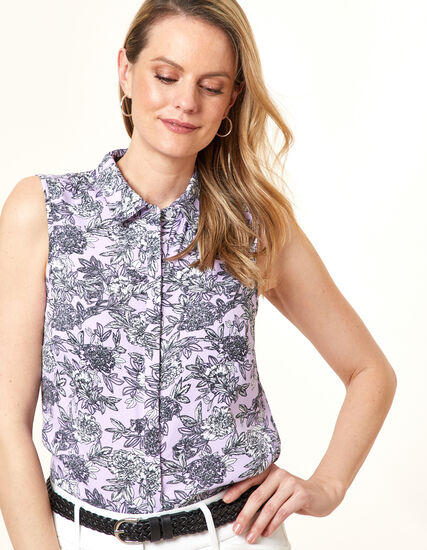 Orchid Floral Collared Button Blouse, Purple/Orchid, hi-res