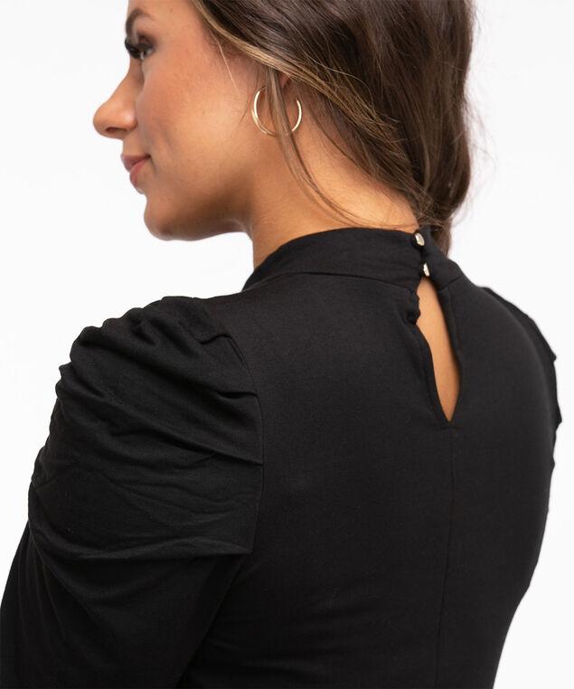 Mock Neck Ruched Sleeve Top, Black