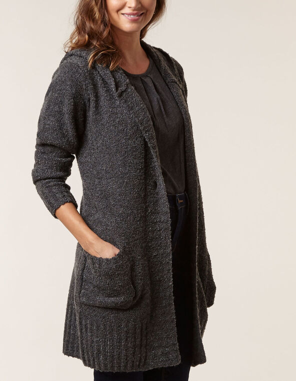 Charcoal Hooded Sweater Coat, Charcoal, hi-res