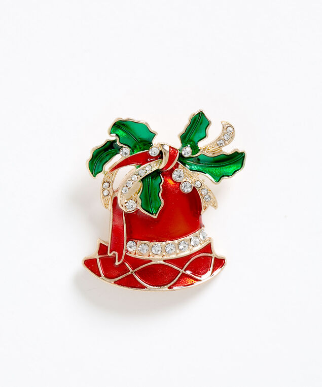 Red Bell Holiday Pin, Red/White/Green, hi-res