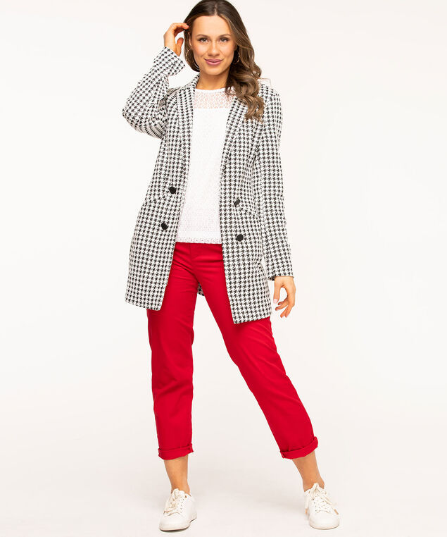 Black Houndstooth Long Blazer, Black/White