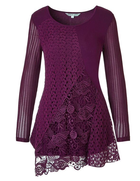 Raspberry Lace Tunic, Raspberry, hi-res
