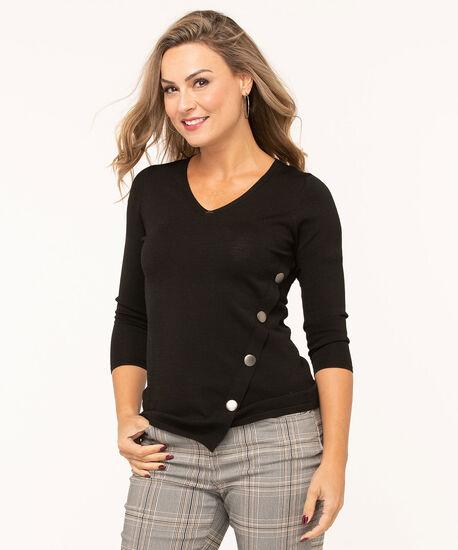 V-Neck Crepe Pullover Sweater, Black, hi-res