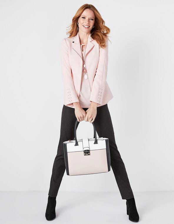 Pink Colour Block Satchel, Pink, hi-res