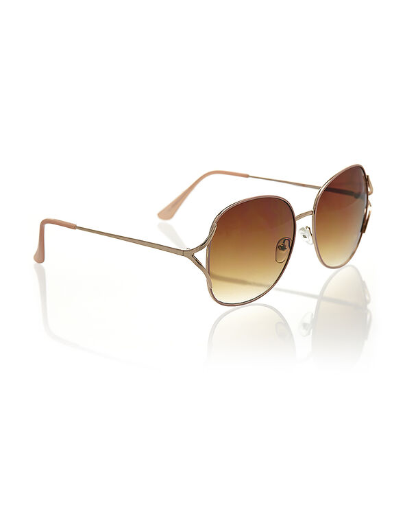 Large Pink Metal Sunglasses, Pink/Rose Gold, hi-res
