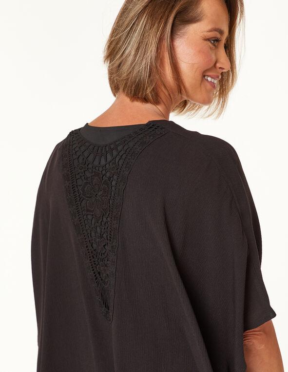 Black Crochet Kimono, Black, hi-res
