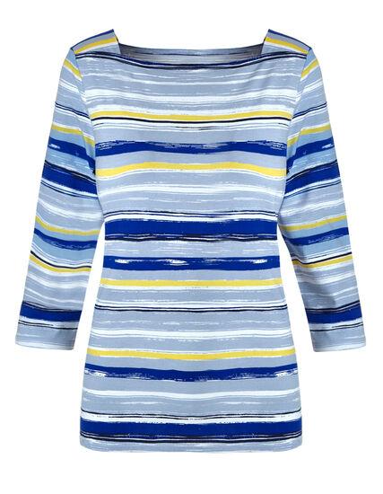 Blue Striped Cotton Tee, Blue, hi-res