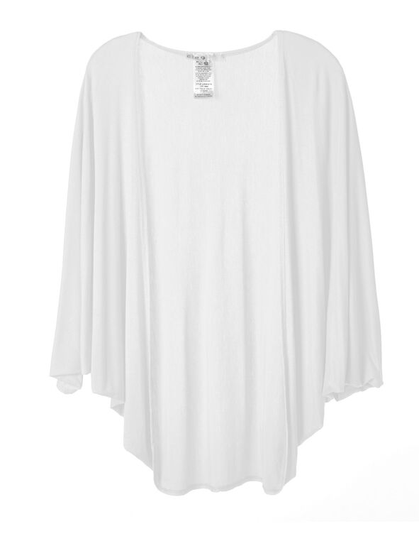 White Bubble Sleeve Cardigan Top, White, hi-res