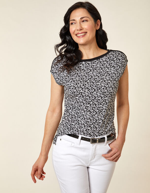 White Floral Button Detail Top, White, hi-res