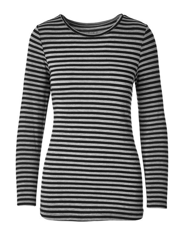 Grey Striped Crew Neck Top, Grey/Black, hi-res
