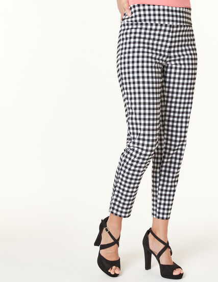Gingham Slim Ankle Pant, Black/White/Grey, hi-res