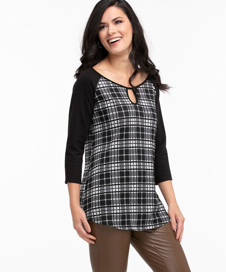 Hacchi Knit Raglan Tunic Top, Black/Grey Plaid, hi-res