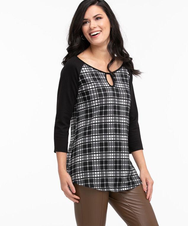 Hacchi Knit Raglan Tunic Top, Black/Grey Plaid