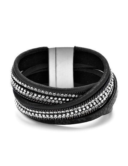 Black Wrap Cuff Bracelet, Black/Rhodium, hi-res