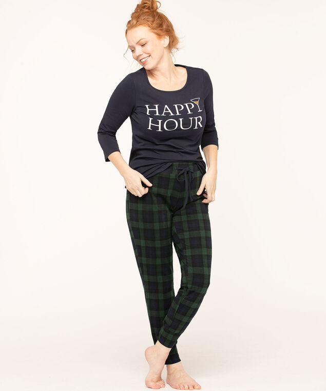 Happy Hour Plaid Pajama Set, Green/Navy/Ivory, hi-res