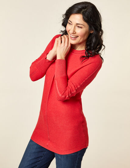 Ottoman Stitch Sweater, Orange/Cajun, hi-res