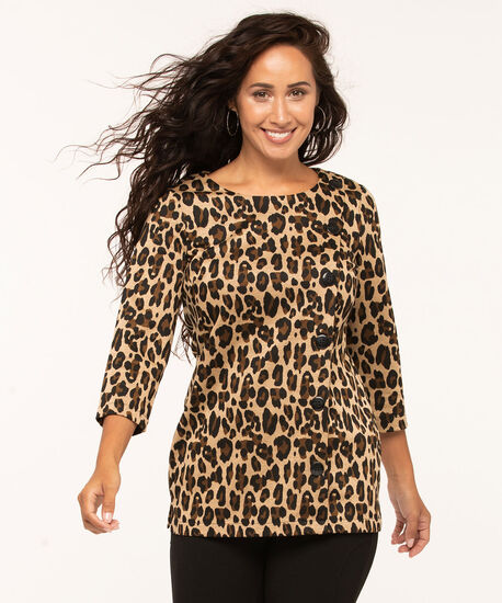 Leopard Print Tunic Top, Tan, hi-res