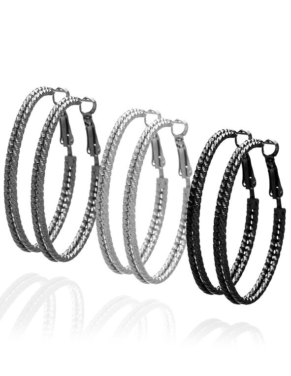 Textured Oval Hoop Earring Trio, Silver/Black, hi-res