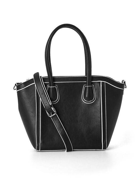 Black Structured Satchel Handbag, Black, hi-res