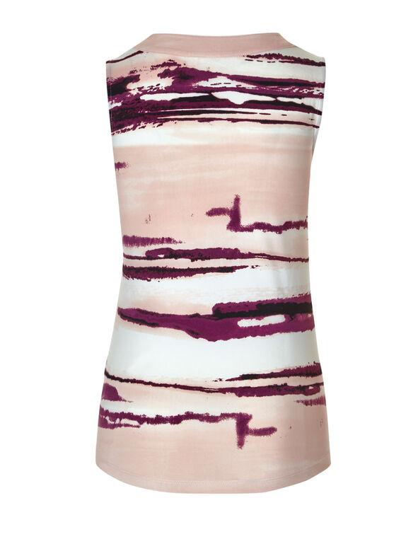 Sangria Printed Sleeveless Top, Sangria/Pink, hi-res