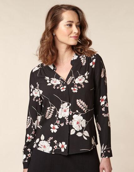 Black Floral Button Front Blouse, Black, hi-res