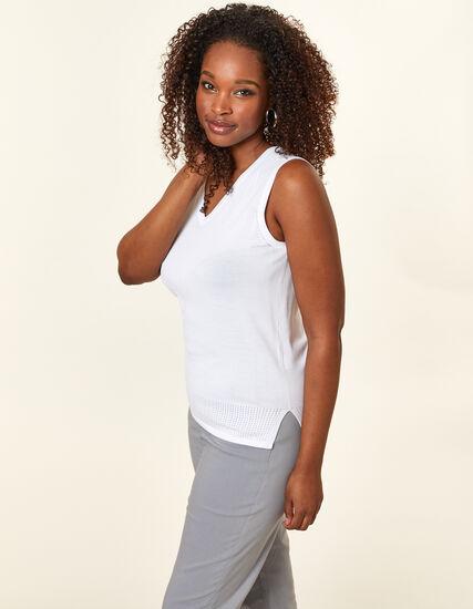 White Pointelle Knit Sweater, White, hi-res