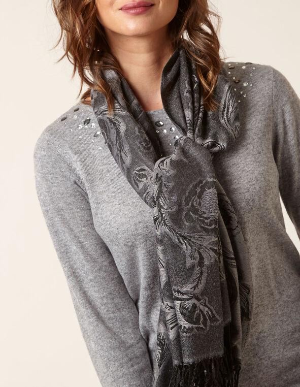 Grey Floral Print Pashmina, Grey, hi-res