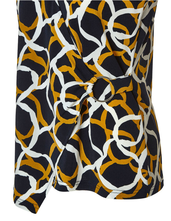 Navy Patterned Wrap Top, Navy/Ochre, hi-res