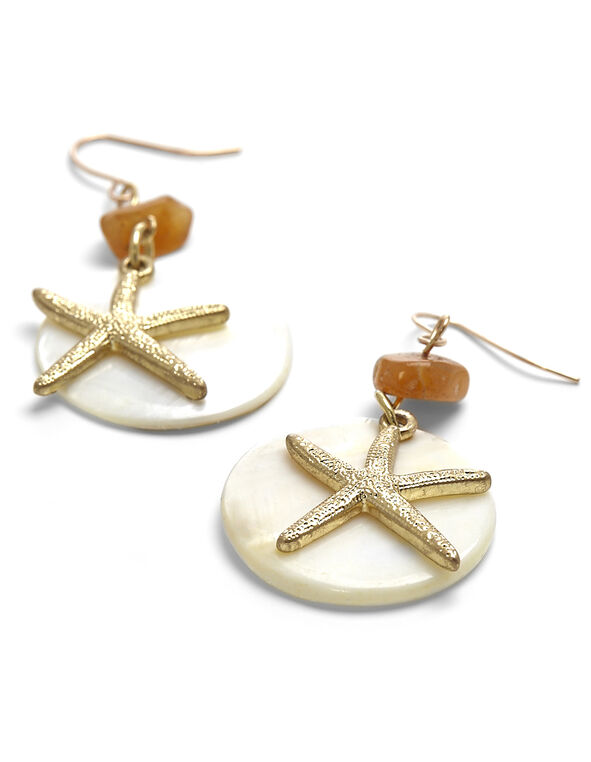 Starfish & Shell Earring, Neutral, hi-res