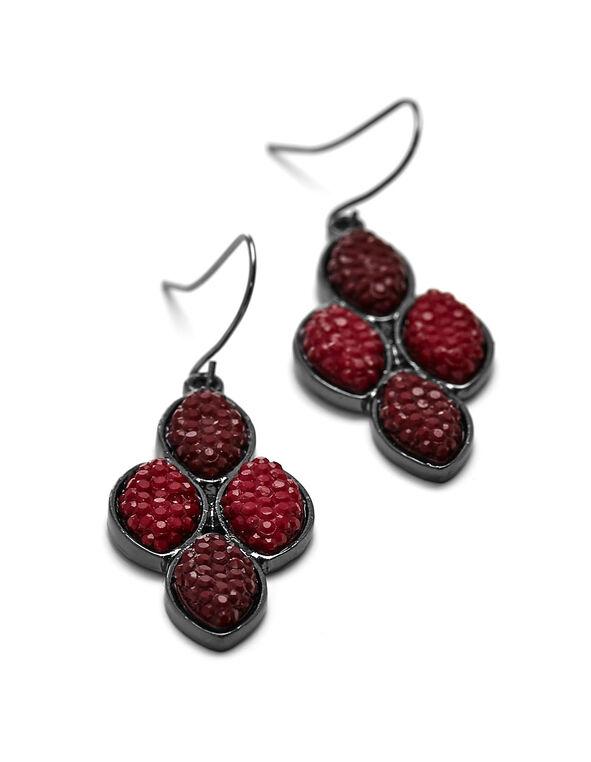 Burgundy Shimmer Caviar Earring, Burgundy, hi-res