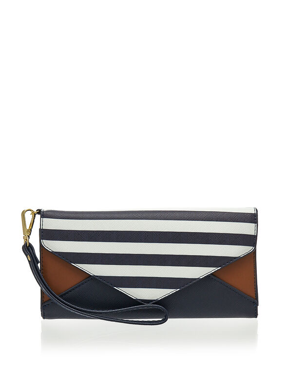 Navy Stripe Envelope Wallet, Navy, hi-res