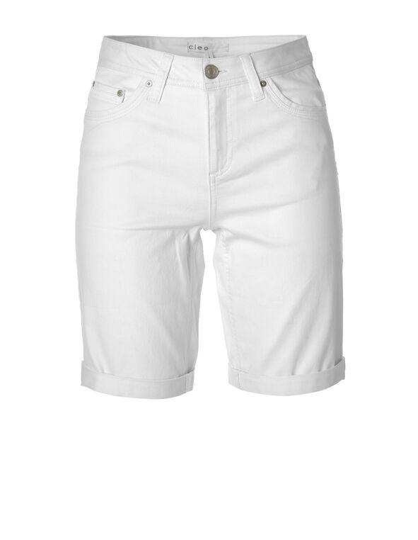 White Denim Bermuda Short, WHITE, hi-res