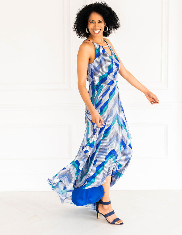 Blue Chiffon Maxi Dress, Blue, hi-res
