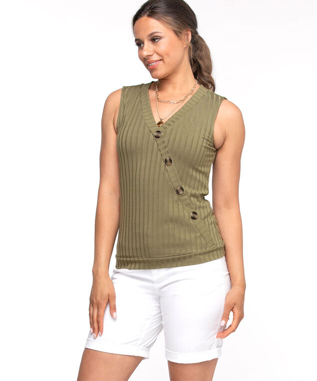 Diagonal Button Front Sleeveless Top, Olive