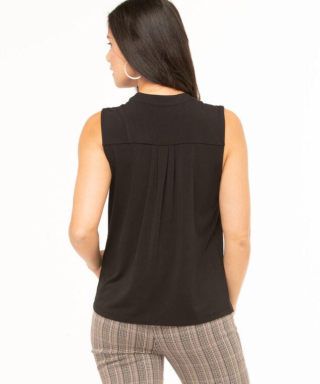 Black Sleeveless Hidden Button Top, Black, hi-res