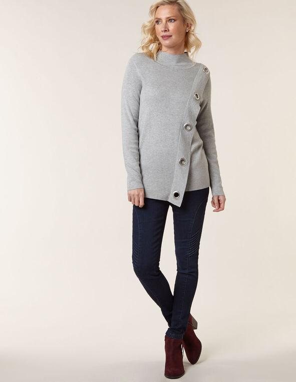 Grey Wrap Styled Sweater, Grey, hi-res