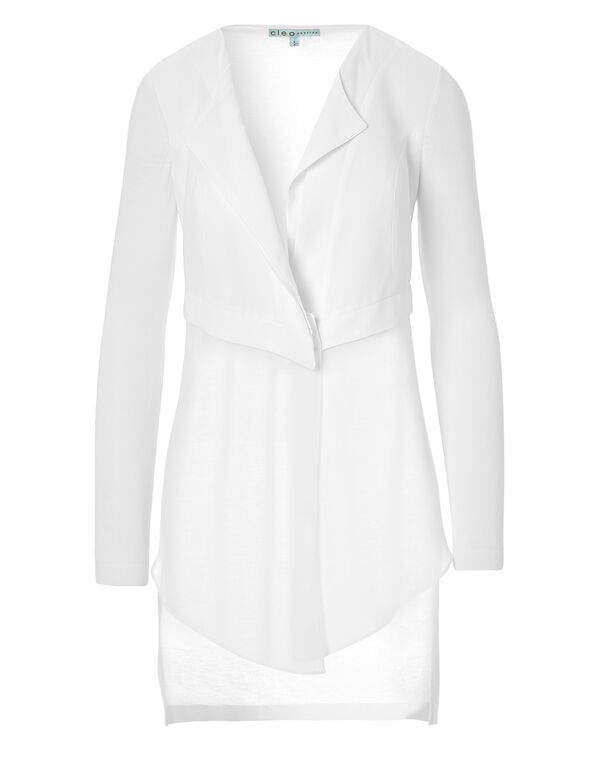 White Chiffon Front Long Cardigan, White, hi-res