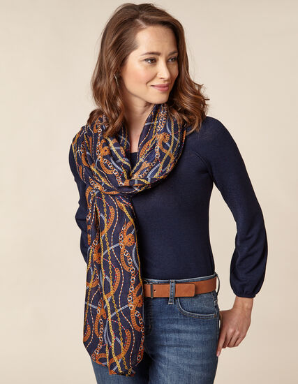 Navy Chain Herringbone Scarf, Navy/Brown, hi-res