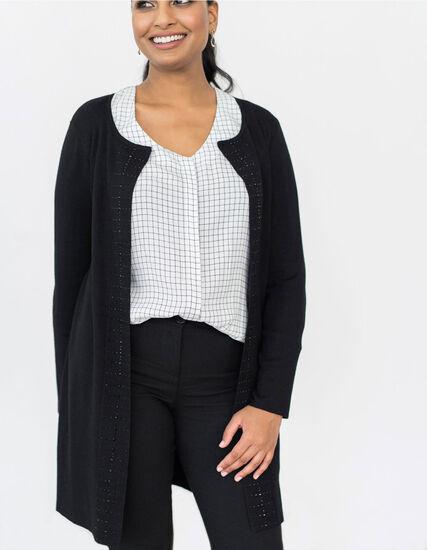 Black Studded Crepe Sweater Coat, Black, hi-res