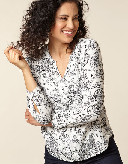 White Paisley Print Blouse, White, hi-res