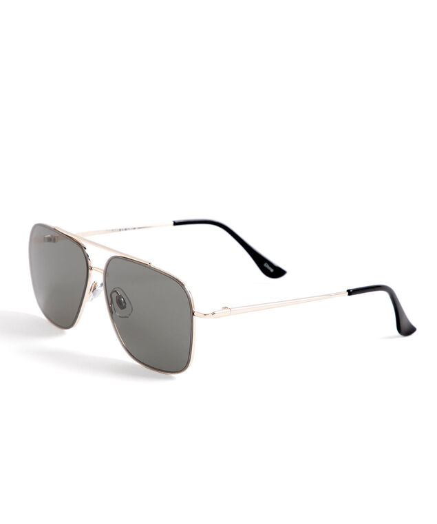 Gold Metal Aviator Sunglasses, Gold